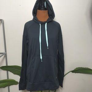 Adidas pullover hoodie, gray with aqua drawstrings